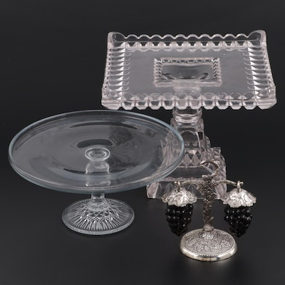 "EAPG Adams & Co. ""Crystal Wedding"" Square Cake Stand and Other Glass Tableware"