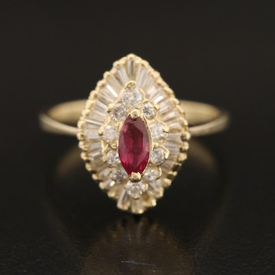 14K Diamond Ballerina Ring