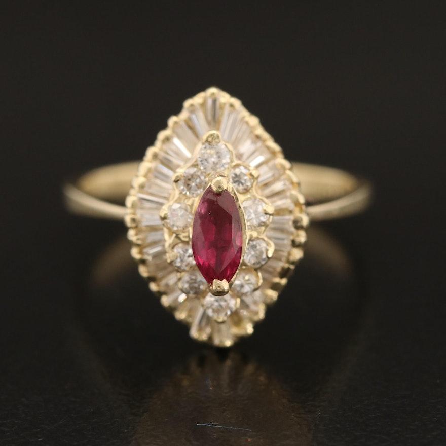 14K Diamond Ballerina Ring