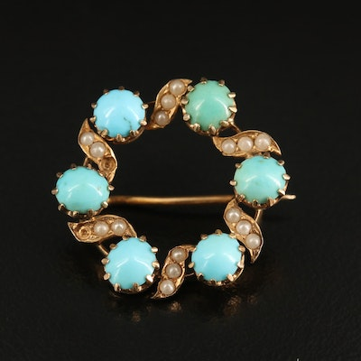 Victorian 14K Turquoise and Faux Pearl Wreath Brooch