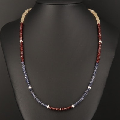 Beaded Necklace with Citrine, Garnet, Iolite and Sterling Clasp