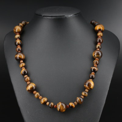 Tiger's Eye and Carnelian Bead Necklace with Sterling Clasp