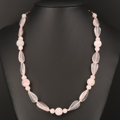 Rose Quartz and Beryl Beaded Necklace