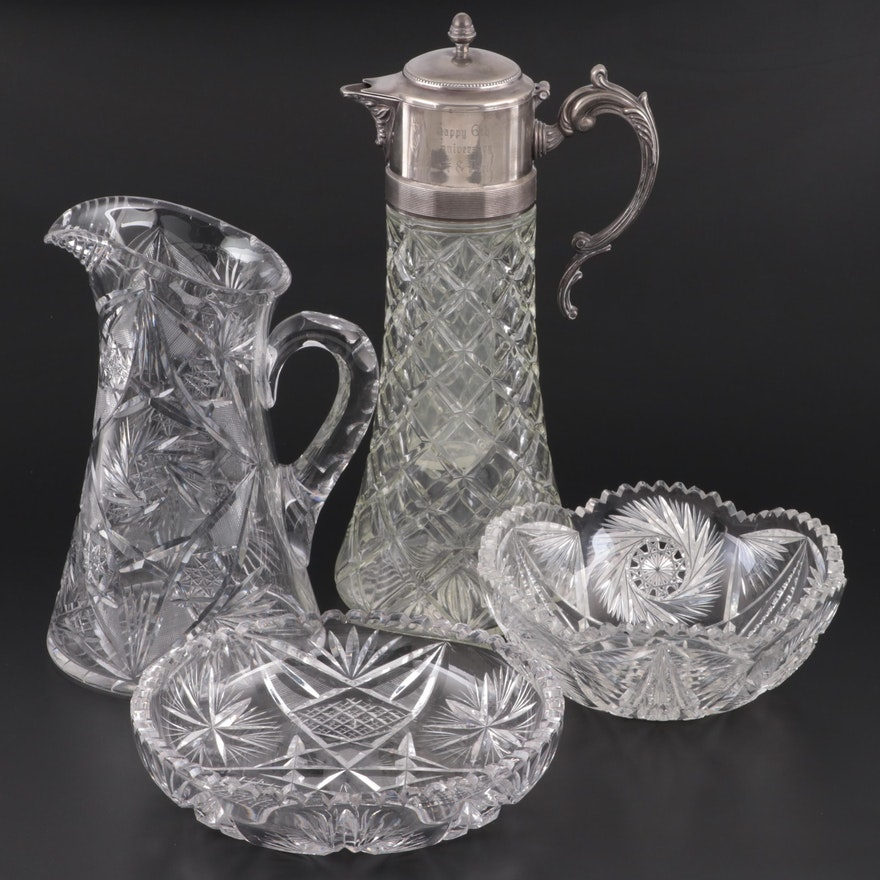 Silver Plate and Pressed Glass Claret Wine Decanter and Other Cut Glass