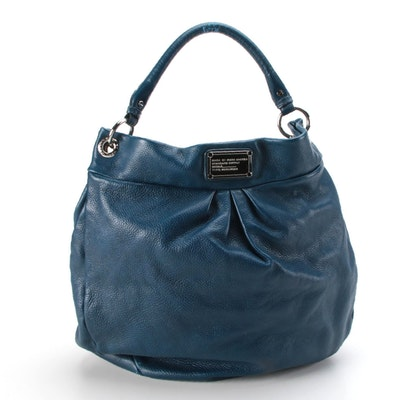 Marc by Marc Jacobs Classic Q Hillier Hobo Bag in Blue Grained Leather