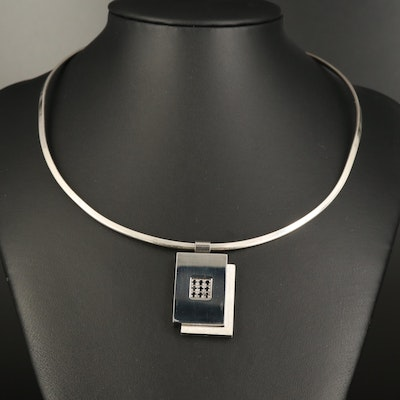 David Sigal Spinel Geometric Pendant with Mexican Sterling Torque