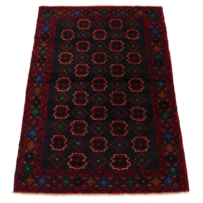 3' x 4'5 Hand-Knotted Afghan Baluch Wool Accent Rug
