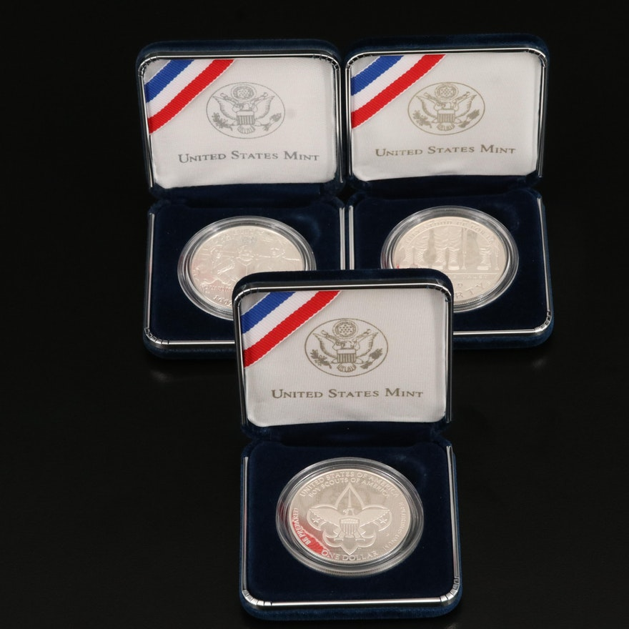 Three Modern Commemorative Proof U.S. Silver Dollars