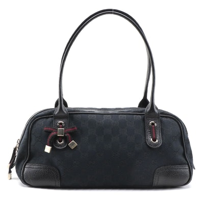 Gucci Princy Boston Bag in Black GG Canvas with Leather Trim