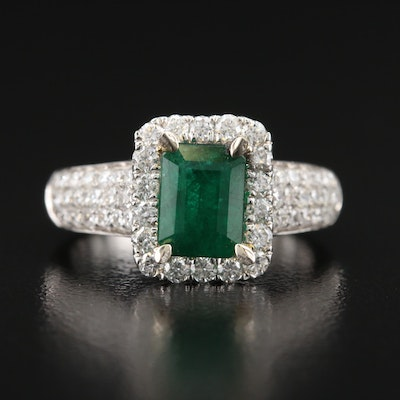 14K 1.33 CT Emerald and 1.06 CTW Pavé Diamond Ring
