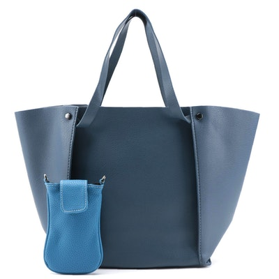 Neiman Marcus Juno Crossbody and Tote Bag in Blue Faux Leather