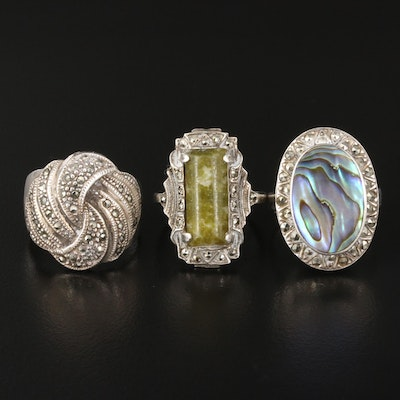 Sterling Gemstone Ring Selection Featuring Abalone, Serpentine and Marcasite