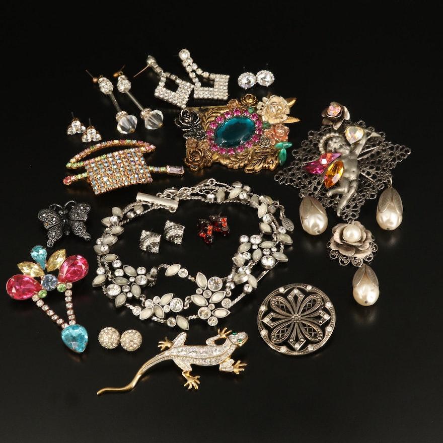 Rhinestone Jewelry Including Pilgrim Danish Designs
