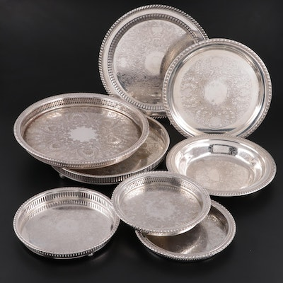 Wm. Rogers and Other Silver Plate Chased Serving Trays, Salver and Bowl