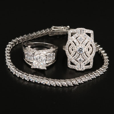 Sterling Cubic Zirconia Rings and Bracelet