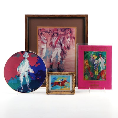 "LeRoy Neiman ""Pierrot"" Limited Edition Royal Doulton Plate, Race Program, More"