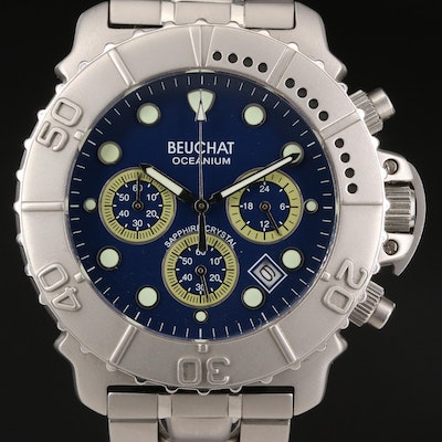 "Beuchat ""Oceanium"" Chronograph Stainless Steel Quartz Wristwatch"