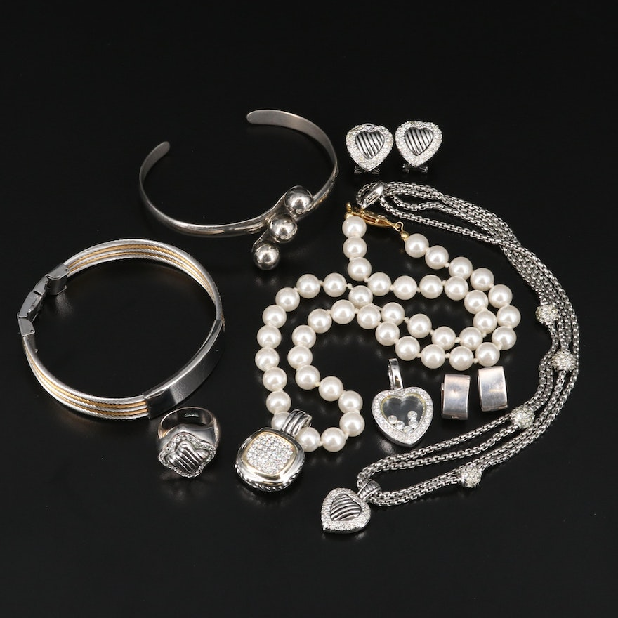 Jewelry Selection Including Sterling Earrings and Floating Heart Locket