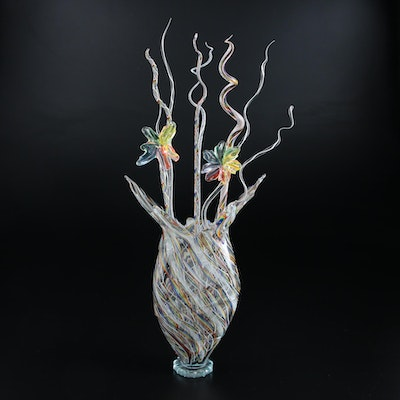Darren Goodman Handblown Reticello Glass Vase with Flowers, 2021