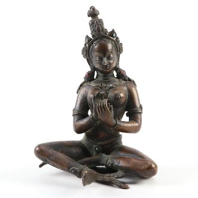 Tibetan Style Cast Bronze Prajnaparamita Sculpture
