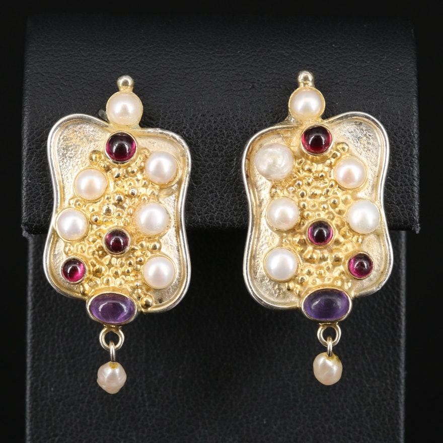 Sterling Pearl, Amethyst and Garnet Button Earrings