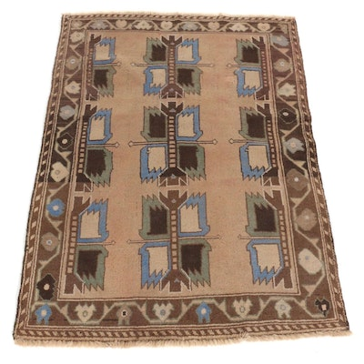 2'11 x 4'4 Hand-Knotted Afghan Tribal Baluch Wool Accent Rug