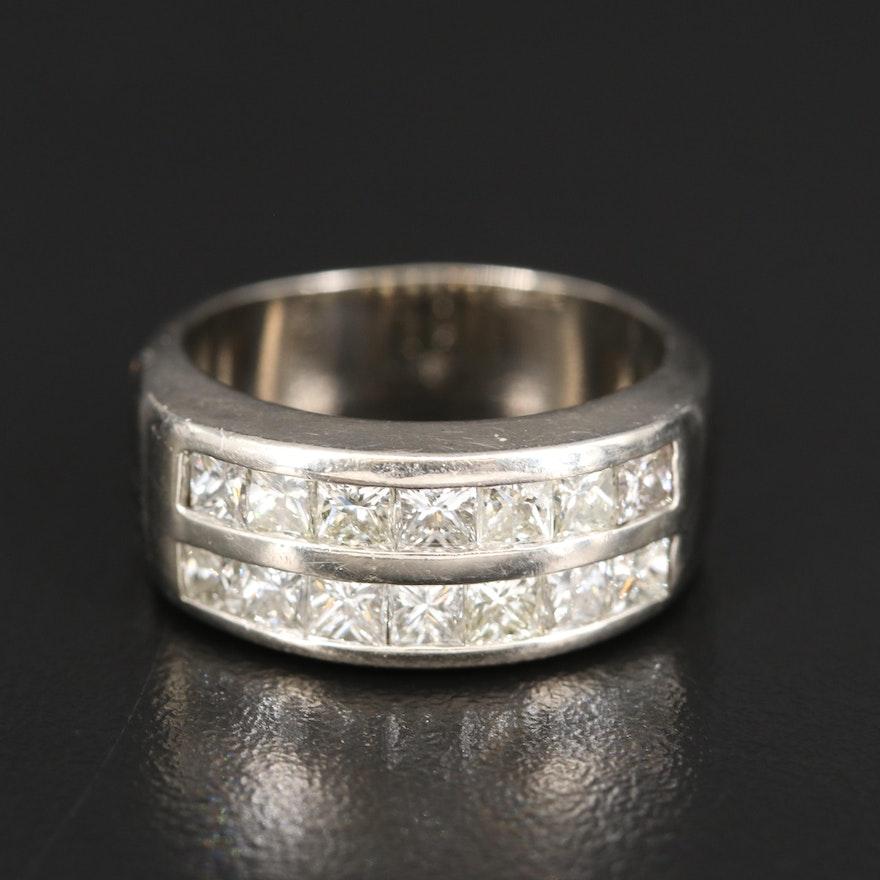 14K 2.10 CTW Diamond Double Row Ring