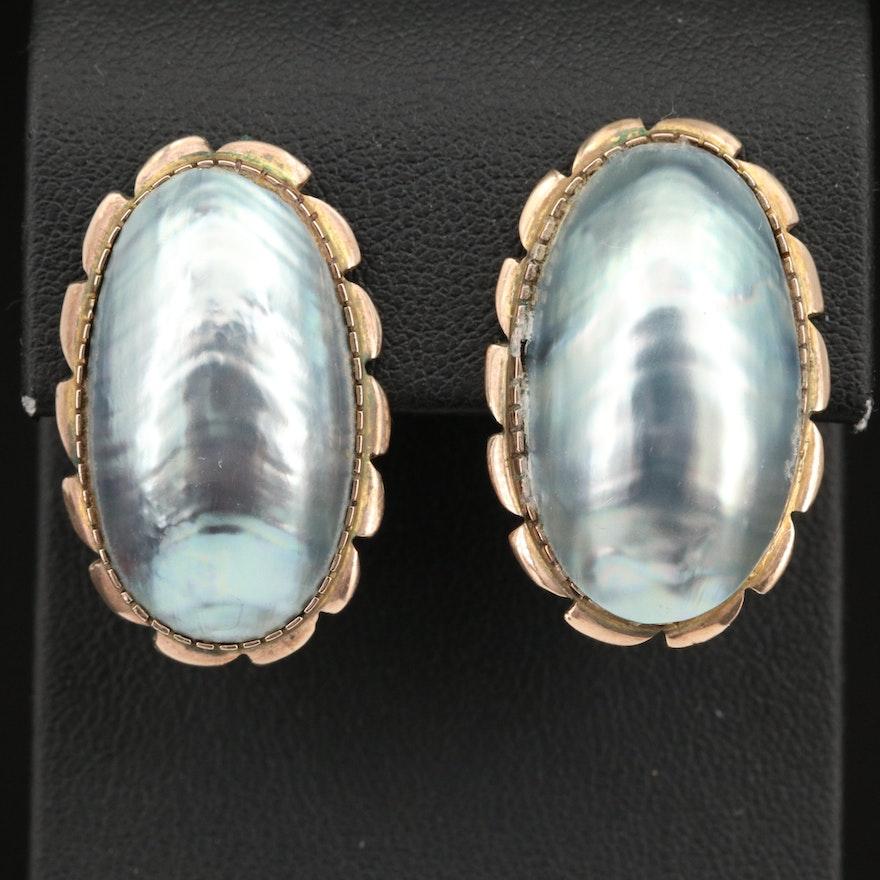 Vintage 9K Mabé Pearl Earrings