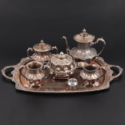 Van Bergh Silver Plate Tea Set and Covered Dish with Other Tableware