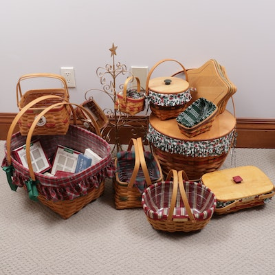 Longaberger Christmas Themed Baskets, Basket Rack, and Tree Ornaments