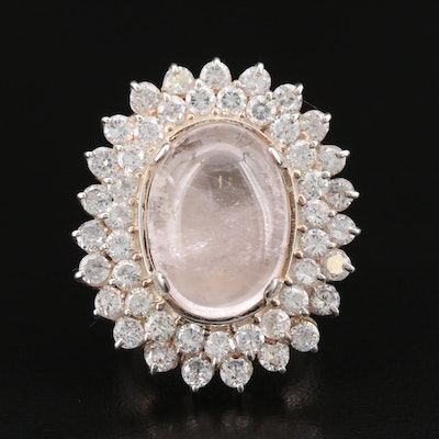 Laurent Leger 950 Silver Rose Quartz and Cubic Zirconia Cocktail Ring