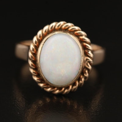 14K Opal Ring with Rope Trim