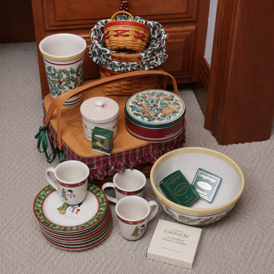 Longaberger Christmas Themed Baskets and Ceramic Tableware
