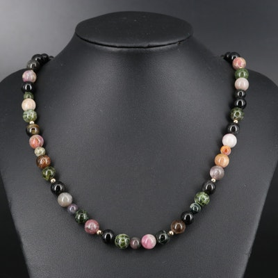 14K Tourmaline Bead Necklace with 18K Clasp