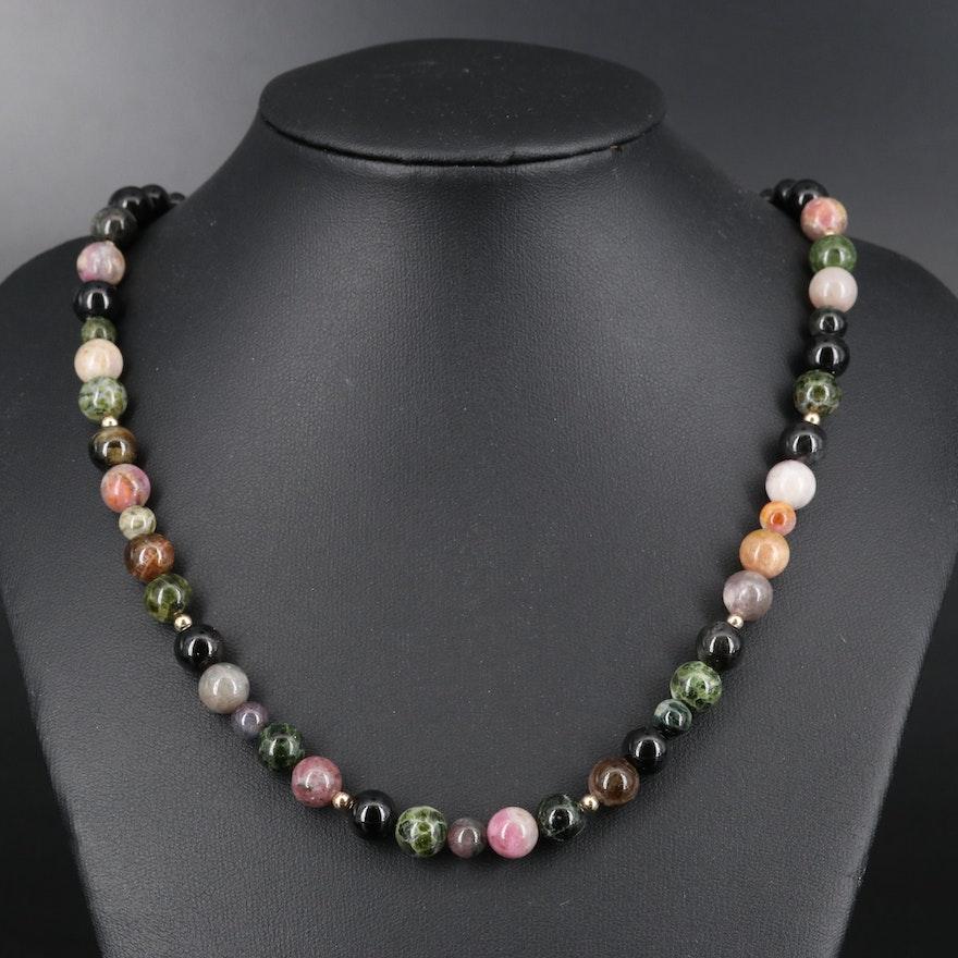 14K Tourmaline Bead Necklace with 18K Clasp
