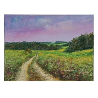 "Garncarek Aleksander Landscape Oil Painting "" W Polach,"" 2020"