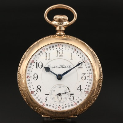 1913 Hampden Pocket Watch with Ornate Case