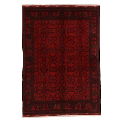 5'8 x 8'2 Hand-Knotted Afghan Turkmen Kunduz Area Rug