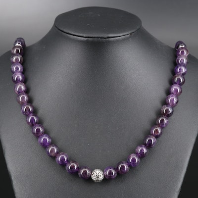 Sterling Graduated Amethyst Necklace