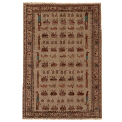 6'8 x 9'10 Hand-Knotted Afghan Pictorial War Rug