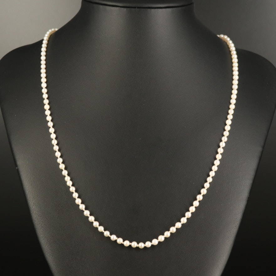 Pearl Strand Necklace with 14K Clasp