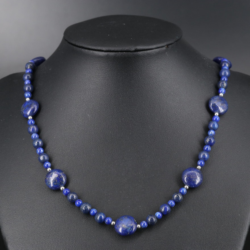 Sterling Lapis Lazuli Beaded Necklace
