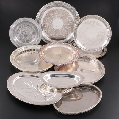 American Silver Plate Serveware and Trays with Wilton Pewter Bowl