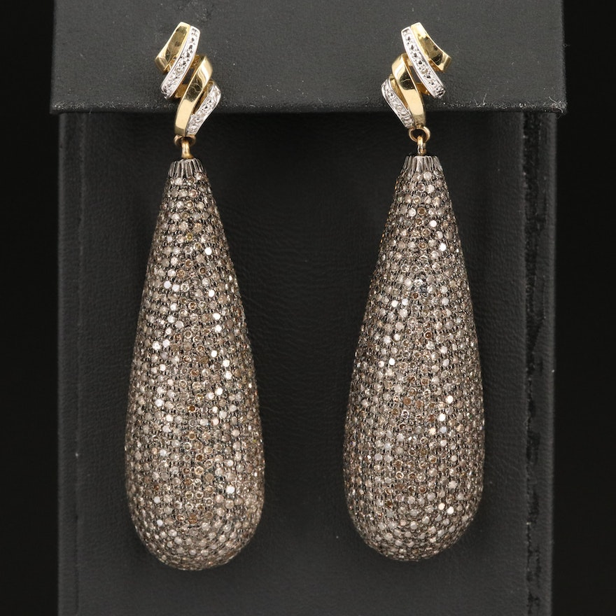 6.00 CTW Diamond Drop Earrings with 14K and Base Metal