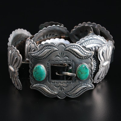 Harry Morgan Navajo Diné Sterling Silver Turquoise Concho Black Leather Belt