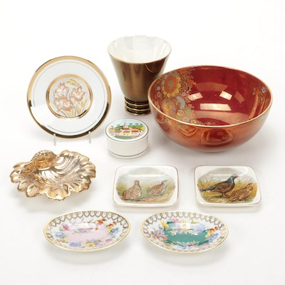 Crown Devon Moriage Accented Bowl and Other Ceramic and Porcelain Tableware