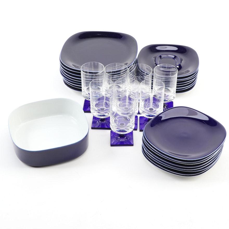 "Block ""Transition"" Cobalt Dinnerware with Rosenthal ""Berlin"" Cordial Glasses"