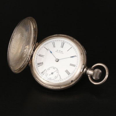 1889 A.W.C. Waltham Coin Silver Pocket Watch