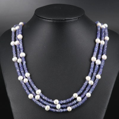 Triple Strand Pearl and Tanzanite Beaded Necklace with Sterling Clasp