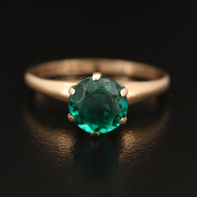 10K Green Glass Solitaire Ring